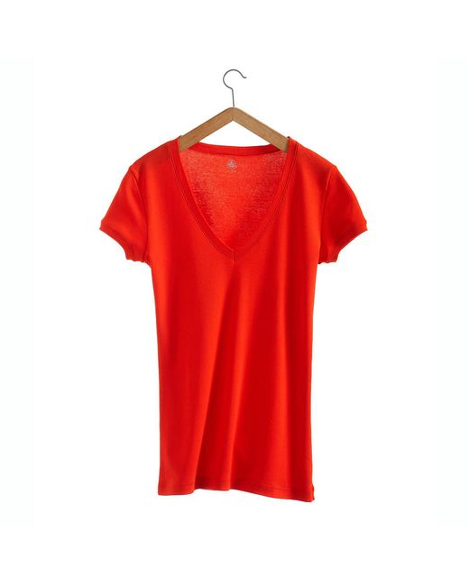 Petit Bateau | Red Women's V-neck Tee In New Cotton | Lyst