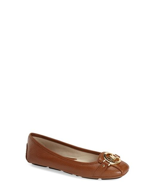 MICHAEL Michael Kors | Brown Fulton Leather Ballet Flats | Lyst