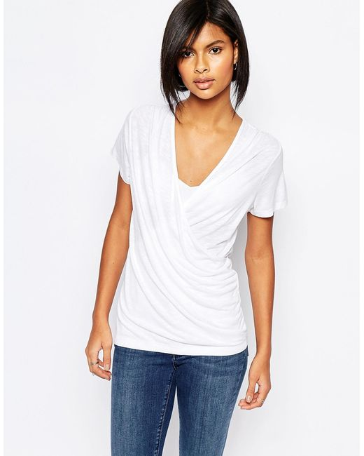 Vila wrap front t shirt white in white lyst for Wrap style t shirts