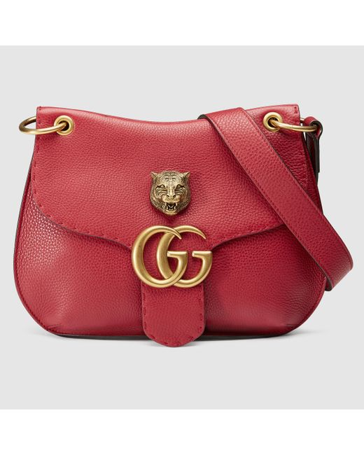 Gucci   GG Marmont Textured Leather Shoulder Bag   Lyst