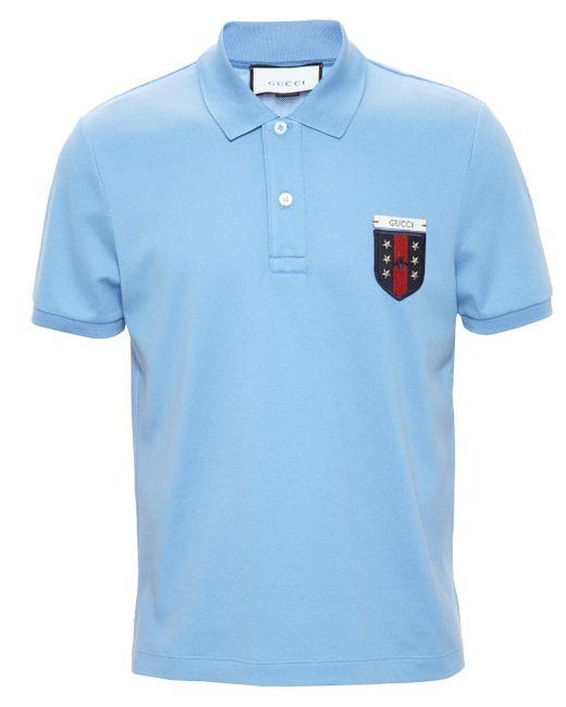 Gucci   Blue Short-sleeved Logo Polo Shirt   Lyst