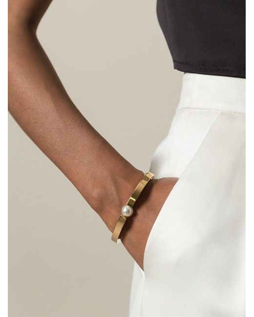 Chloé | Metallic 'darcey' Pearl Bracelet | Lyst