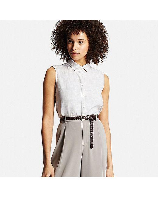 Uniqlo Premium Linen Sleeveless Shirt In White Natural