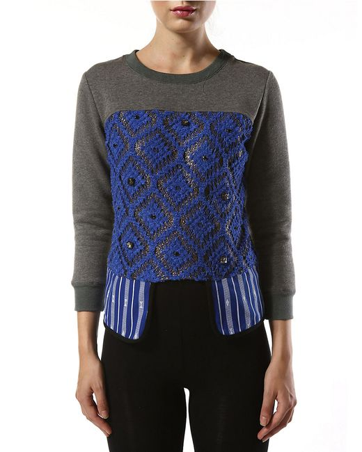 Betina | Blue Stirling Woven Mock Layered Top | Lyst