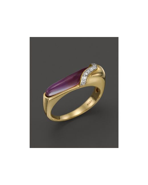 Kara Ross | Purple 18k Yellow Gold Thin Hydra Stacking Ring With Amethyst, Mother-of-pearl & Diamonds | Lyst