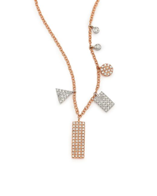 Meira T | Pink Diamond & 14k Rose Gold Geometric Charm Necklace | Lyst