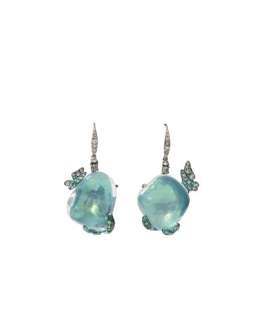 Arunashi | Green Water Opal Butterfly Earrings | Lyst