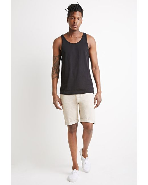 Forever 21   Natural Clean Wash Cuffed Denim Shorts for Men   Lyst