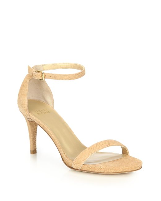 Stuart Weitzman | Natural Nunaked Embossed Leather Sandals | Lyst