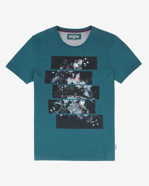 Ted Baker | Blue Split Floral Graphic T-shirt for Men | Lyst