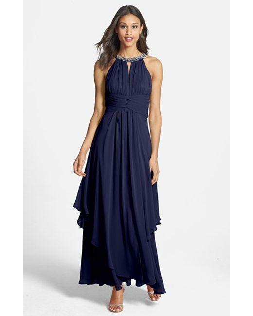 Eliza J | Blue Embellished Tiered Chiffon Halter Gown | Lyst