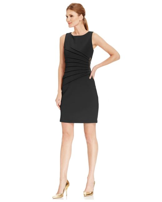 Ivanka Trump | Black Pleated Zipper-trim Scuba Sheath Dress | Lyst