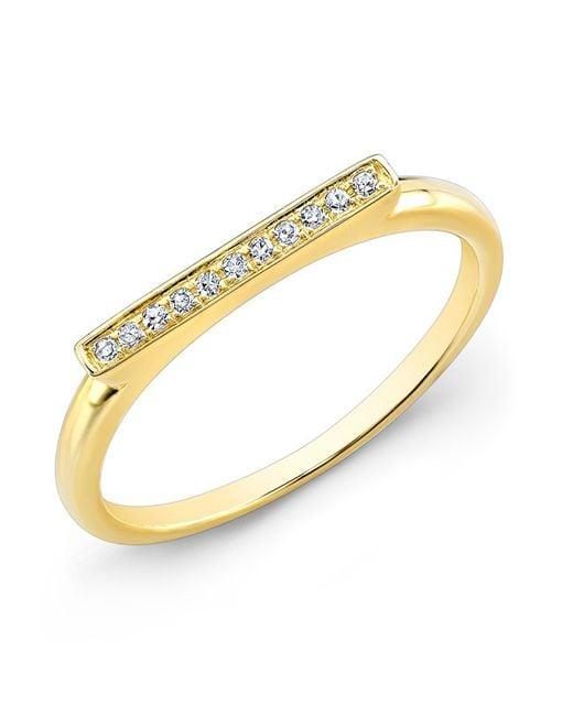Anne Sisteron | Metallic 14kt Yellow Gold Diamond Long Bar Ring | Lyst