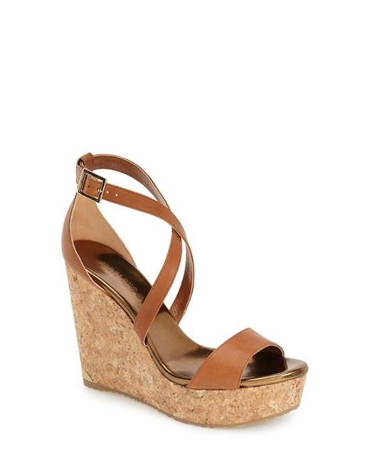 Jimmy Choo | Metallic Portia Leather Platform Wedges  | Lyst