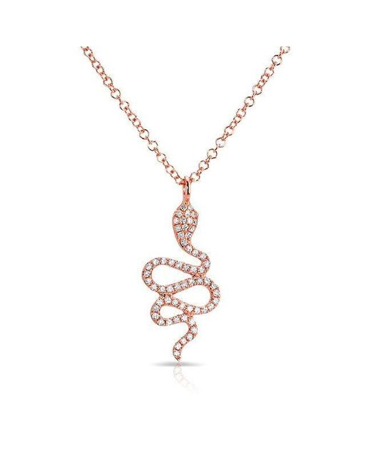 Anne Sisteron - Metallic 14kt Rose Gold Diamond Snake Necklace - Lyst
