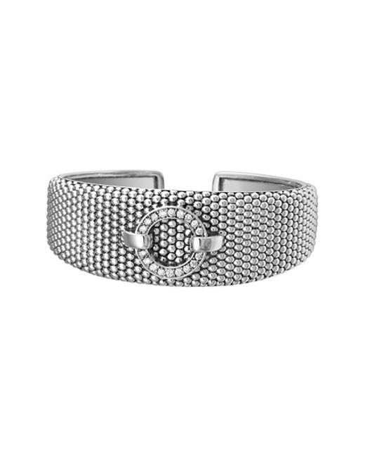 Lagos | Metallic 'enso - Circle Game' Diamond Caviar Cuff | Lyst
