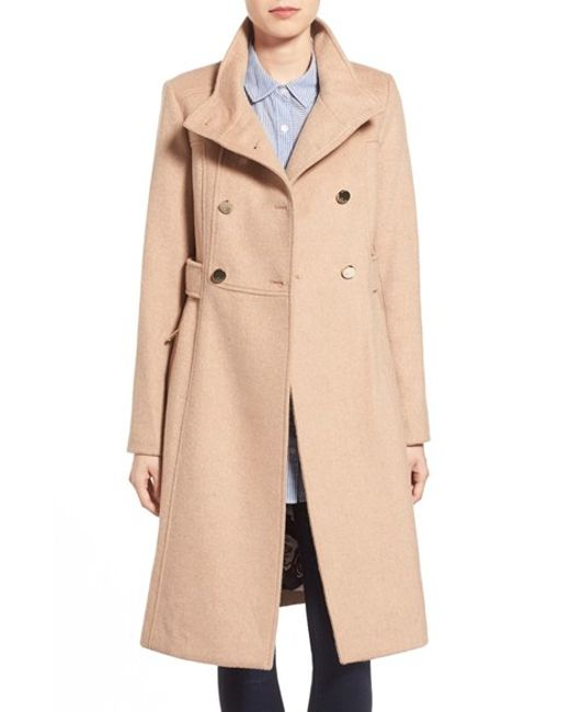 Eliza J | Natural Stand Collar Wool Blend Military Coat | Lyst