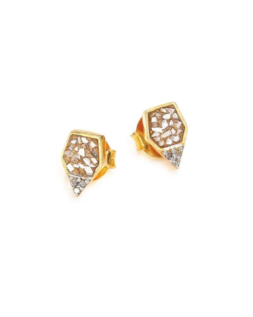 Shana Gulati | Metallic Charushila Champagne Diamond Zivar Stud Earrings | Lyst