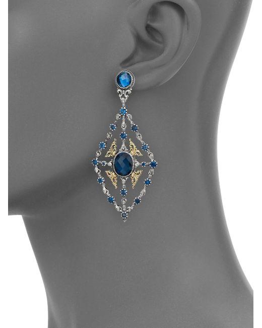 Konstantino   Metallic Thalassa London Blue Topaz, 18k Yellow Gold & Sterling Silver Chandelier Earrings   Lyst