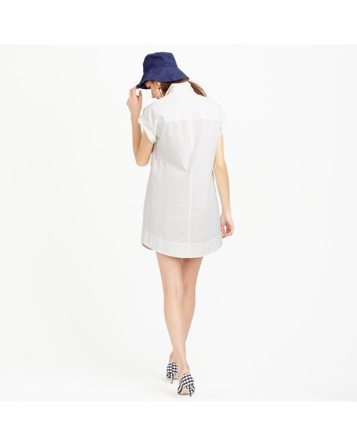 J.Crew | White Petite Short-sleeve Cotton Shirtdress | Lyst
