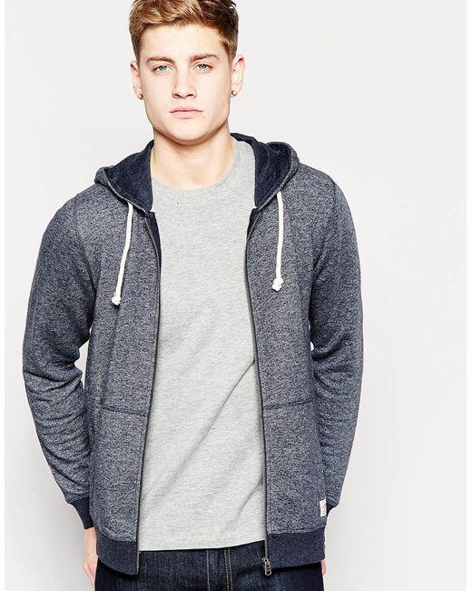 jack jones zip up hoodie in blue for men lyst. Black Bedroom Furniture Sets. Home Design Ideas