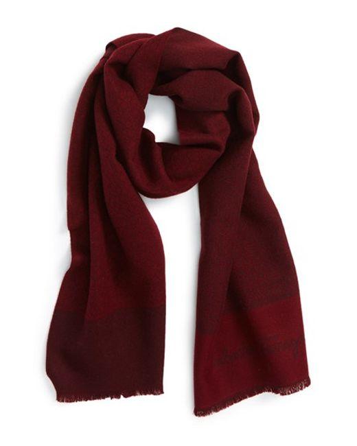 ferragamo gancini wool scarf in for medium blue