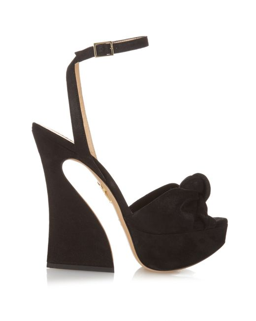Charlotte Olympia | Black Vreeland Suede Knotted Sandals | Lyst