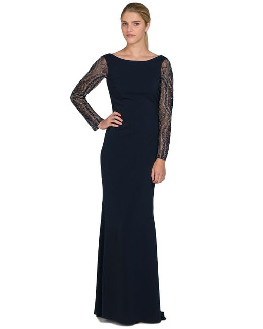 Badgley Mischka | Blue Beaded Sleeve Odessa Evening Gown | Lyst