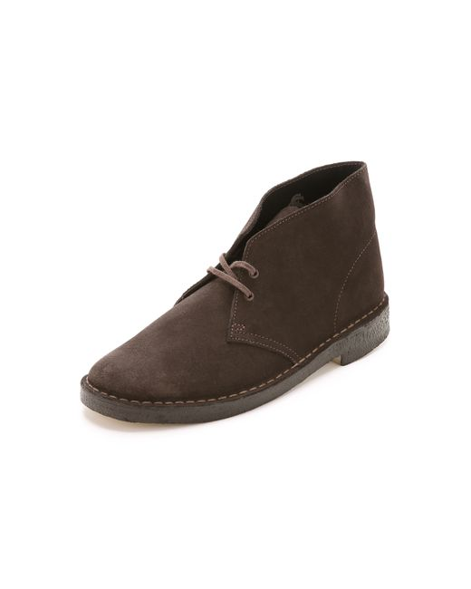 clarks suede desert boots in brown for lyst