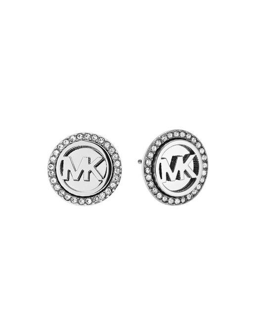 Michael Kors | Metallic Logo Silvertone Stainless Steel Stud Earrings | Lyst