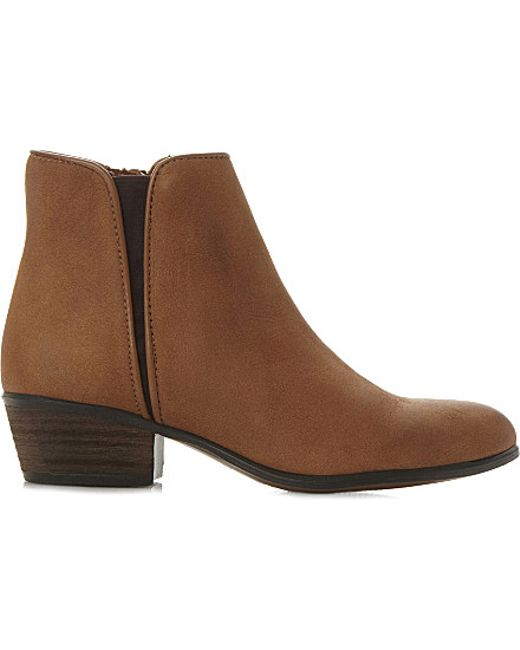 steve madden line low suede ankle boots in brown lyst