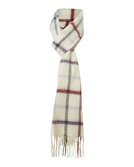 Barbour | Natural Bolt Tattersall Cashmere Mix Scarf | Lyst