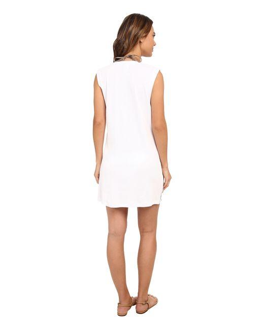 Lauren by Ralph Lauren | White Button Solids Sleeveless Buttron Tunic Cover-up | Lyst