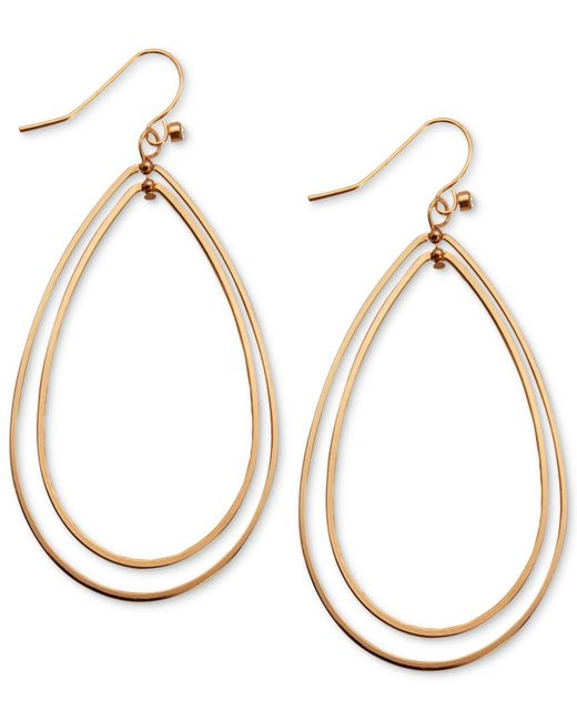 Guess | Pink Earrings, Rose Gold-tone Double Teardrop Hoop Earrings | Lyst