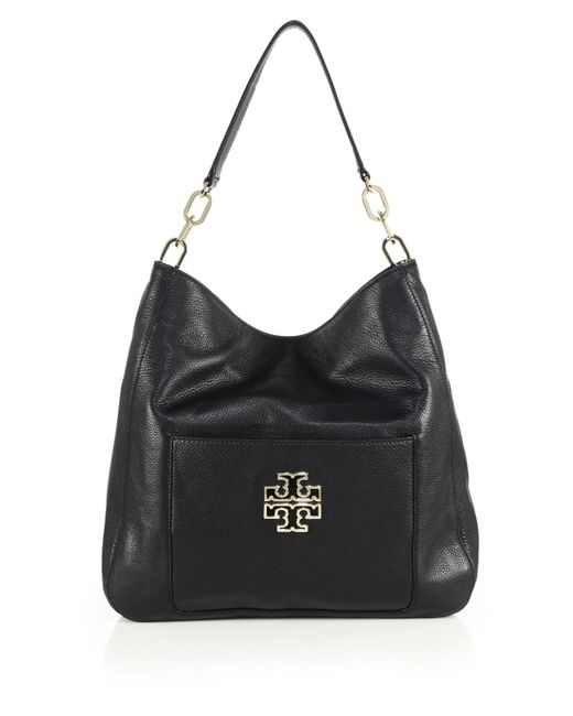 Tory Burch | Black Britten Leather Hobo Bag | Lyst