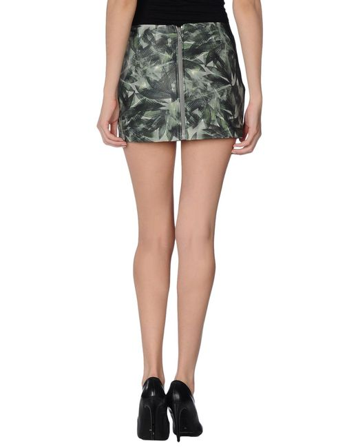 m grifoni denim leather skirt in green save 48 lyst