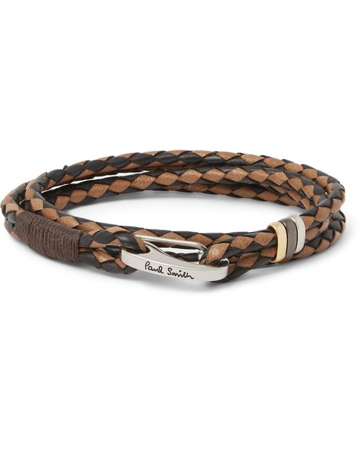 Paul Smith | Brown Two-tone Woven Leather Wrap Bracelet for Men | Lyst