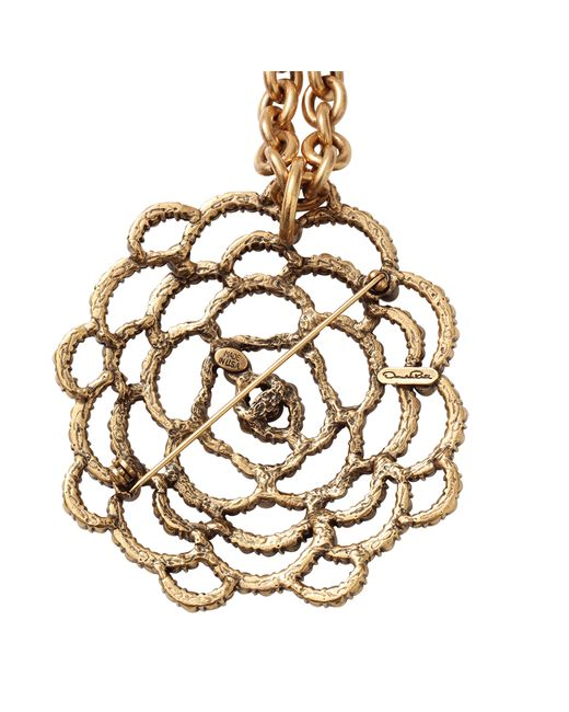 Oscar de la Renta | Metallic Flower Brooch Necklace | Lyst