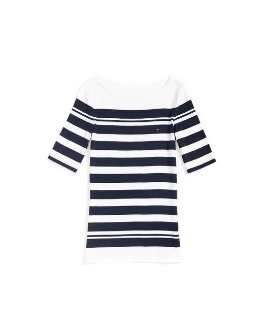 Tommy Hilfiger Boatneck Stripe Tee In White Classic White