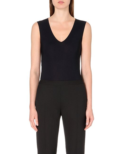 Maison Margiela | Black V-neck Stretch-jersey Body | Lyst