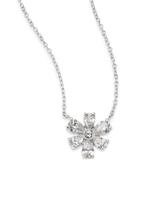 Kwiat | Elements Diamond & 18k White Gold Flower Pendant Necklace | Lyst