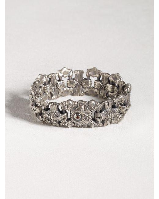 John Varvatos | Metallic Sculpted Sterling Silver Bracelet With Red Topaz for Men | Lyst