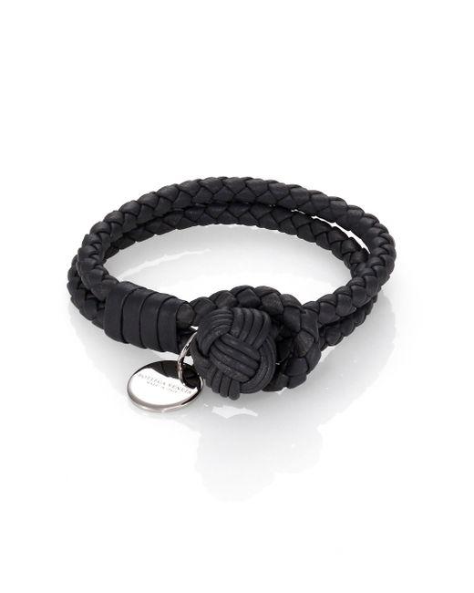Bottega Veneta | Gray Intrecciato Leather Double-row Wrap Bracelet | Lyst