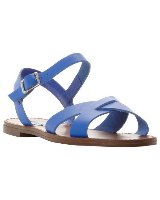 Steve Madden Dublin Cross Strap Flat Sandals In Blue Blue