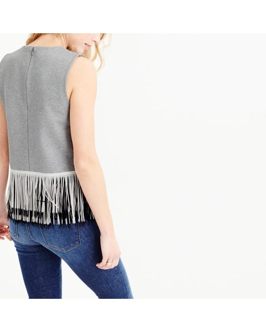 J.Crew   Gray Knit Top With Fun Fringe   Lyst