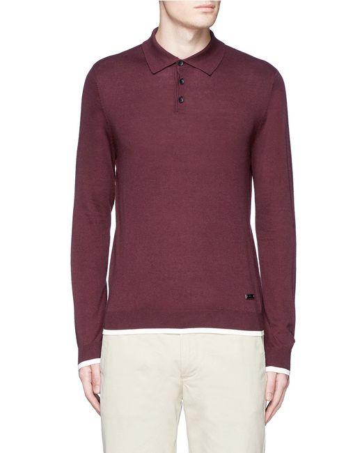 Armani silk cashmere knit long sleeve polo shirt in purple for Long sleeve purple polo shirt