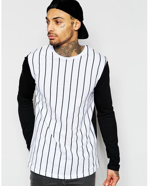 Asos Longline Long Sleeve T Shirt With Vertical Stripe And