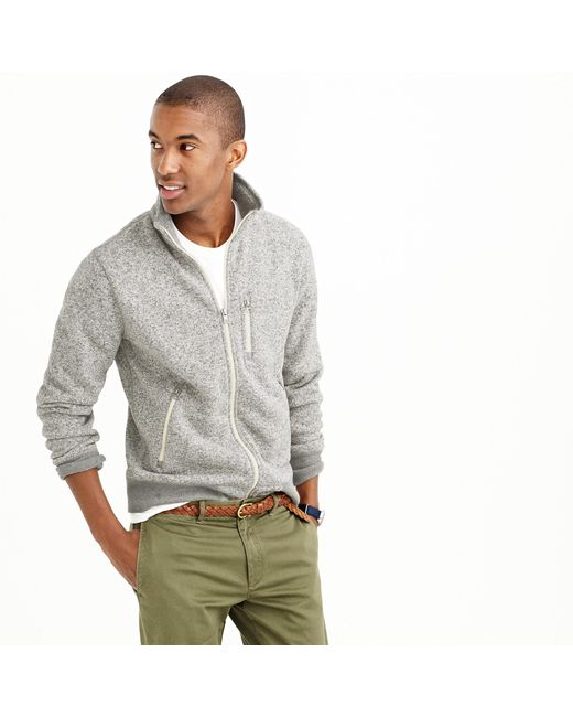 J.Crew | Gray Summit Fleece Full-zip Jacket In Heather Stone for Men | Lyst