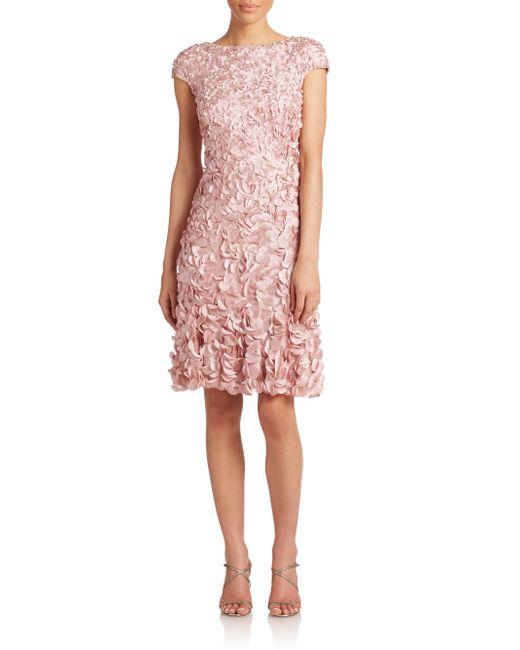 THEIA | Pink Beaded Petal Dress | Lyst