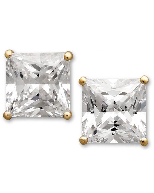 Arabella | Metallic 14k Gold Earrings, Swarovski Zirconia Princess Cut Stud Earrings (3-3/4 Ct. T.w.) | Lyst